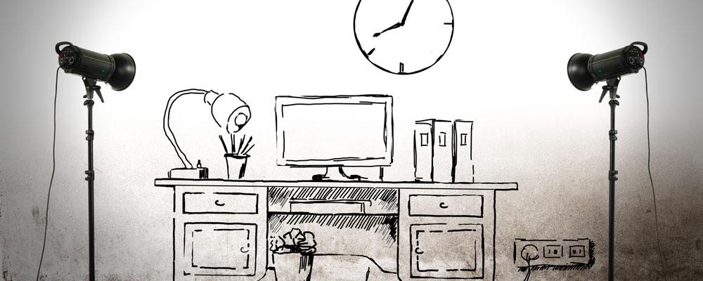 Schreibtisch gezeichnet  Wertgeschätzte Kunden bleiben gern